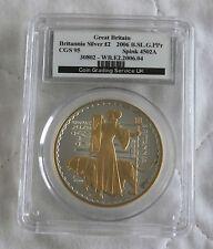 2006 £2 BRITANNIA GOLDEN SILHOUETTE 1oz  SILVER PROOF SLABBED CGS 95