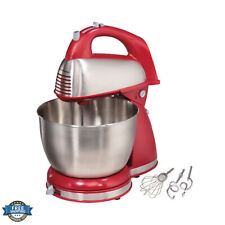 HAMILTON BEACH 6 SPEED CLASSIC STAND MIXER KITCHEN BAKING STAINLESS STEEL RED