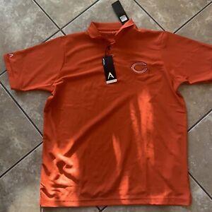 NWT Antigua Golf L NFL Chicago Bears SS Golf Shirt Orange