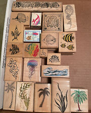 Lot of 21 Vintage Ocean-Themed Rubber Stamps