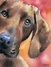 """Redbone Coonhound"" Watercolor Dog ART Print Signed by Artist DJR"