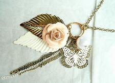 LONG GOLD NECKLACE – LOTS OF DETAIL INCLUDING BUTTERFLIES AND FLOWER SHAPES_NEW