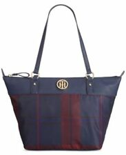 Tommy Hilfiger Women's Tote Bag Plaid Navy Red Nylon Ivy Zip Top Tote Bag