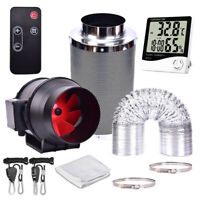 4''6''8'' Remote Control Fan Inline Grow Tent Ventilation Ducting Carbon Filter