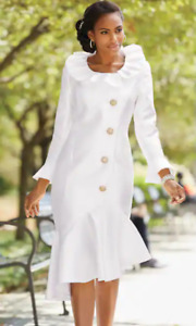 Size 22W PLUS Ashro White Formal Wedding Dinner Party Church Amora Satin Dress