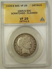 1905-S US Barber Silver Half Dollar 50c Coin ANACS VF-25 Details Cleaned Scratch