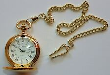 "Men's Gold tone Pocket Watch with 14"" chain & clip, Roman Numerals, White Dial"