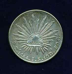 MEXICO REPUBLIC ZACATECAS 1884-Zs-JS  8 REALES SILVER COIN, ALMOST UNCIRCULATED+