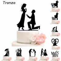 Tronzo Cake Topper Wedding  Mr Mrs Acrylic Black Toppers Romantic Bride Groom Fo