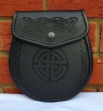Scottish Black Semi Dress Kilt Sporran Celtic Embossed Leather Kilt Sporran