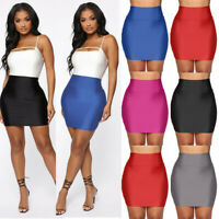 Sexy Women Daily Stretch Tight Skirt Solid High Waist Short Slim Mini Skirts