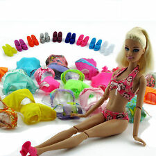 5Sets Fashion Swimsuits Bathing Slippers Beach Swimwears Clothes For Barbie Doll