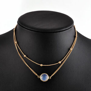 Women's Gold Plated Double Layer Multi Strand Crystal Clear Beaded Necklace
