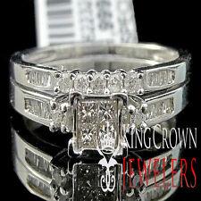 Ladies 10K White Gold Diamond Engagement Ring Princess Wedding Band Bridal Set