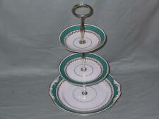 Vintage Bone China 3-Tier Hostess Cake Plate Stand Green Band