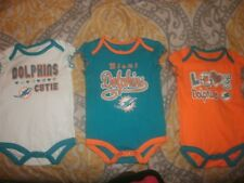 LOT OF 3 MIAMI DOLPHINS GIRLS BODYSUITS 3-6 MONTHS NFL TEAM APPAREL NEW (B75)