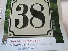 Hausnummer Emaille Nr. 38  schwarze Zahl auf weißem Hintergrund 14 cm x 14 cm