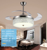 "42"" Crystal LED Chandeliers Ceiling Fan Lamp Pendant Lighting Fixture w/ Remote"