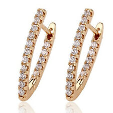 Stunning 18ct Yellow Gold Filled Clear Crystal CZ Hoop Earrings Gift UK -250