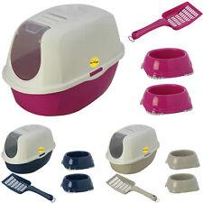 Cat Flip Litter Tray + 2 Non Slip Bowls + Scoop Pan Toilet Loo Charcoal Filter