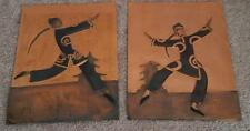 Vintage Pair 1940s Art Deco Asian Male Dancers Tooled Copper Relief Signed Hope