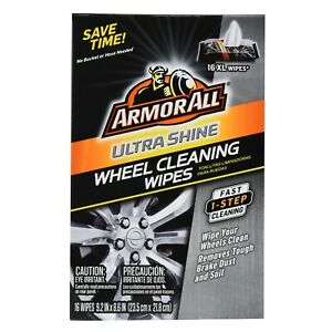 ArmorAll Ultra Shine Wheel Tire Cleaning XL Wipes 16 Count Pack