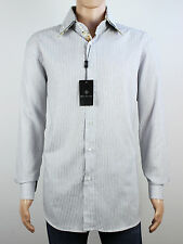 NEW Rosso Fiorentino Mens Size L XL Long Sleeve White Stripe Shirt