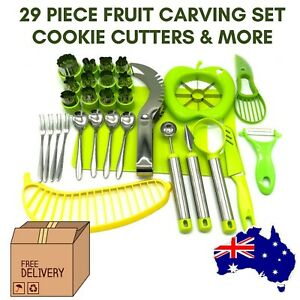 Bento Food Cutter, Fruit Vegetable Cookie Shapes Moulds Stamps Set Watermelon