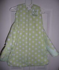 HALO SleepSack Swaddle Wearable Blanket Green White Polka Dots Fleece NEWBORN