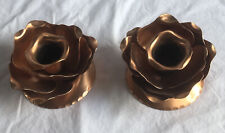 Vintage Copper Candle Holders Roses Gregorian Solid Copper Usa Set of 2