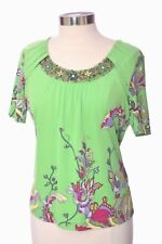 Vintage Rena Lange Green Silk Floral  Cap Sleeve Top Size Large