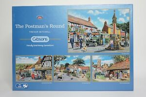 Gibsons The Postman's Round 4 x 500 Piece Jigsaw Puzzles G5030 Complete & Bagged