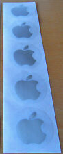 Apple logo stickers in SILVER, unusual, set of FIVE, each 40mm across - NEW