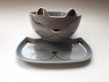New 2Set Arlington Kitty Cat Ceramic Jewelry Key Tray Breakfast Bowl Cat Feline