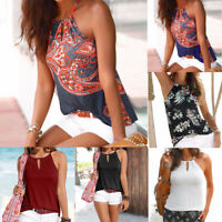 Fashion Womens Floral Strappy Vest Top Sleeveless Shirt Blouse Casual Tank Tops