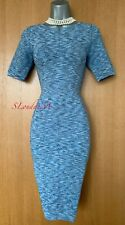 UK 8 / 10 KAREN MILLEN (2) Blue Texture Short Sleeve Super Stretch Bodycon Dress