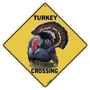 "Turkey Metal Crossing Sign 16 1/2"" x 16 1/2"" (HANGING) Diamond shape  USA # 412"