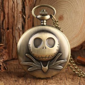 Steampunk Bronze Antique Men's Analog Quartz Pocket Watch with Necklace Chain