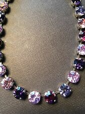 Necklace & Earrings Purple Amethyst W/ Swarovski Crystals Antique Silver Chain