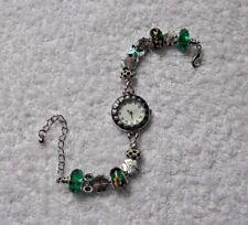 HANDMADE UNIQUE DARK GREEN European Charm Bracelet Watch SAMDORA + Rhinestones A