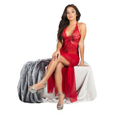 Red Women Sexy Lingerie Sleepwear Long Scallop Edge Halter Top Floral Nightgown