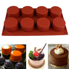 3D 8 Holes Round Shape Silicone Cake Molds Handmade Cupcake Jelly Pudding Mould