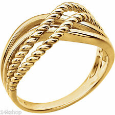 14K Solid Yellow Gold Knot Crossover Design Sz 7 Ring Stunning