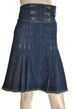 MISS SIXTY SZ 6-8 WOMENS Blue High Waist Frayed Hem A Line Pleated Denim Skirt
