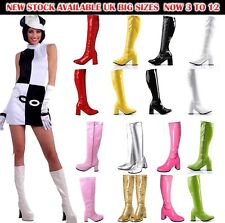 LADIES WOMENS FANCY DRESS PARTY GO GO BOOTS 60s 70s RETRO SIZE 3 4 5 6 7 8