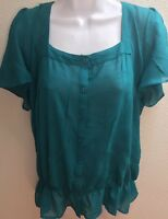 Blouse Top large l Womens Sheer Short Sleeves Casual Career