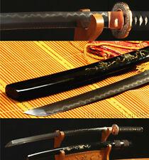 DAMASCUS FOLDED STEEL CLAY TEMPERED COPPER TSUBA JAPANESE SAMURAI SWORD KATANA