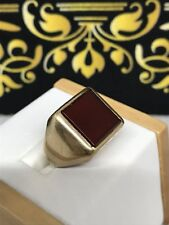 LARGE GOLD CARNELIAN GENTS RING