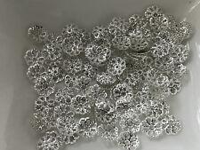 75 filigrane Perlkappen Perlenkappen 7 mm silber Spacer Schmuck basteln M38