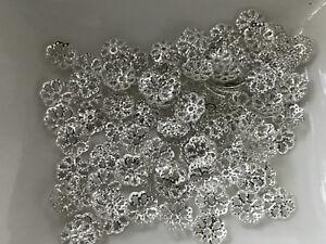 100 filigrane Perlkappen Perlenkappen 9 mm silber Spacer Schmuck basteln R254